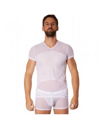 T-shirt blanc maille et motifs - LM901-81WHT