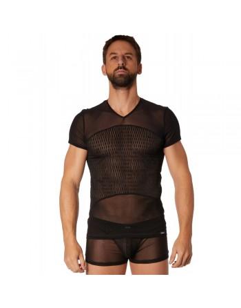 T-shirt noir maille et motifs - LM901-81BLK