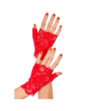 Gants rouges doigts ouverts dentelle florale - ML416RED