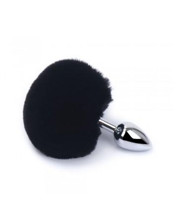 Plug anal aluminium avec pompon noir Taille S - RY-001MPJ-018BLK