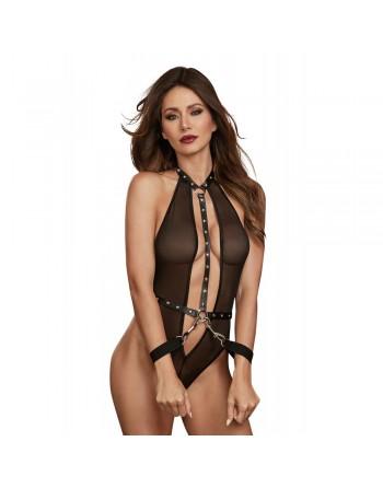 Body en filet extensible avec garnitures cloutées en simili cuir