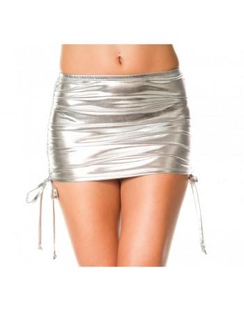 Mini jupe droite, effet métallique, liens pour ajuster hauteur - ML154SIL